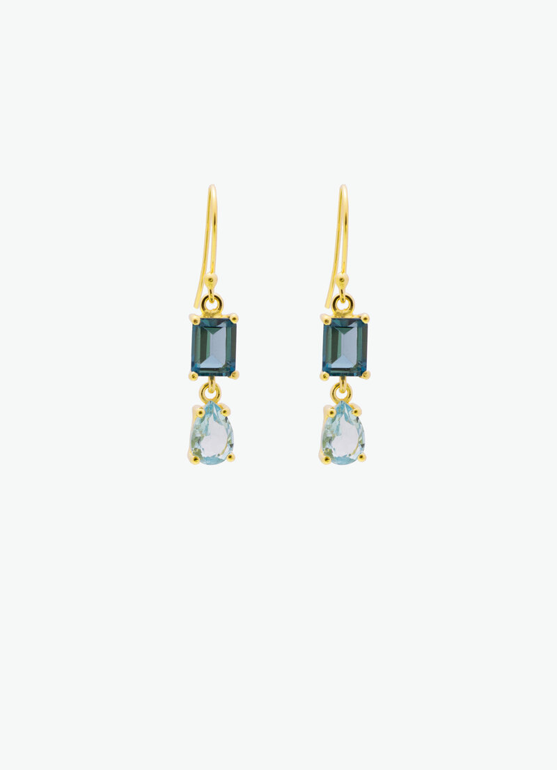 COVET HANDMADE_CLAUDES DROP_LONDON BLUE TOPAZ_ BLUE TOPAZ_GOLD