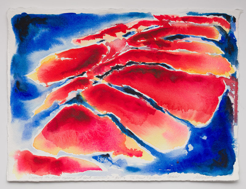 abstract watercolor based on Hafiz poem and inspired by Georgia Okeefe style in reds ands blues.
