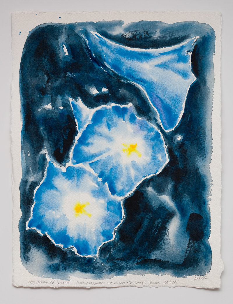 "Blue semi abstract painting of Morning Glories inspired by Georgia O Keefe, and based on Zen poet Moritake, ""My span of years appears a morning glory's hour."""