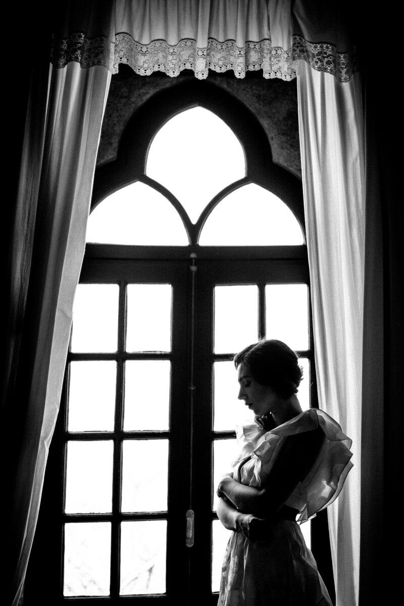 Black and White Fine Art Portrait of a Bride
