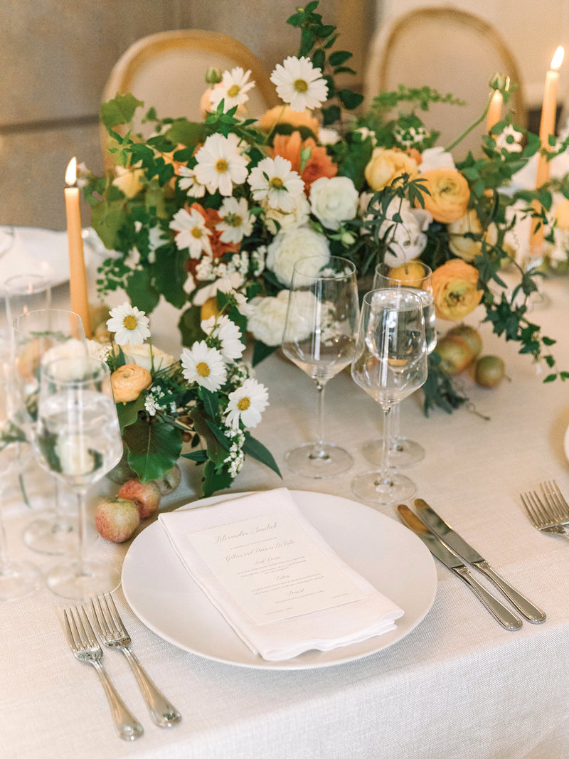 Tablescape for wedding by Jenny Schneider Events at a private residence in Marin County, California.
