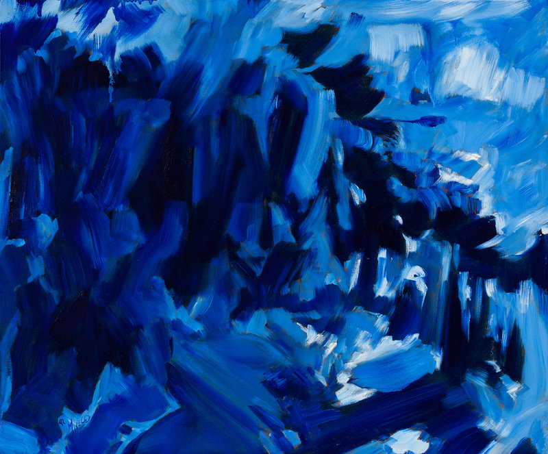 "Abstract oil painting in blues based on Herbie Hancock's ""Driftin'""."