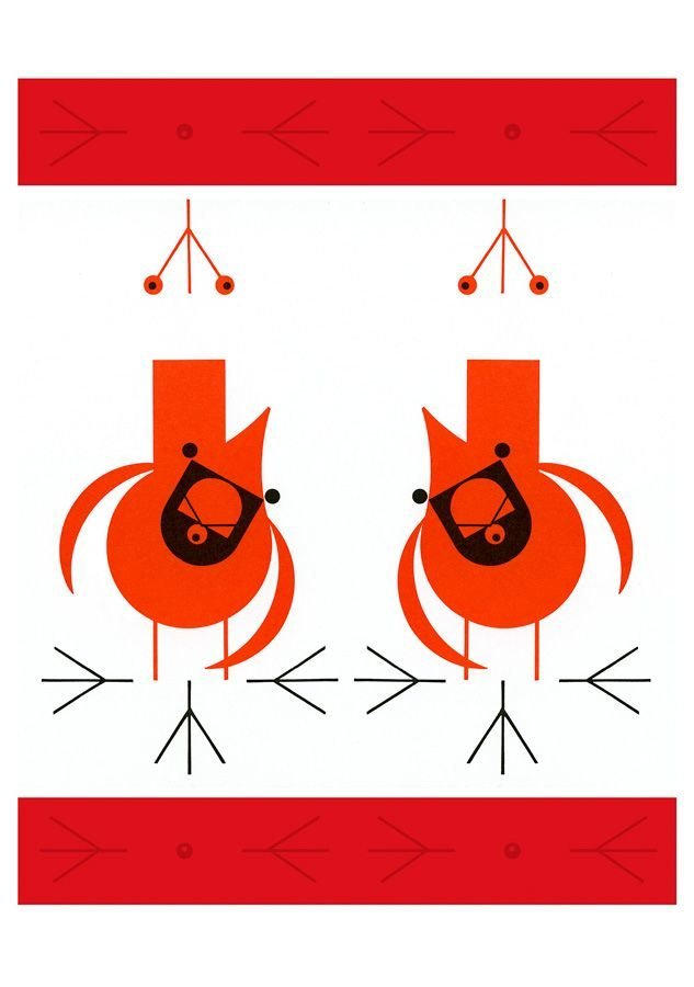 Cool Cardinals in Charley Harper's Christmas card set.