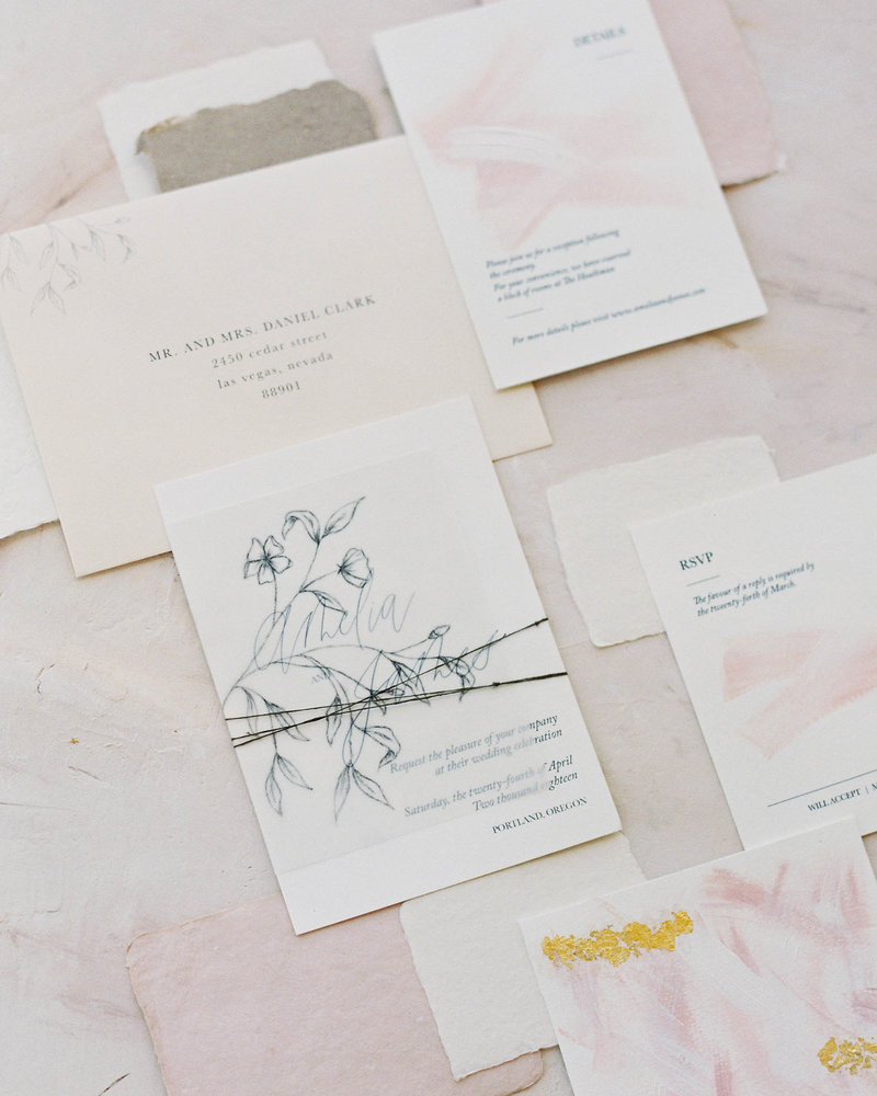 Romantic minimal modern invitation suite by Dominique Alba