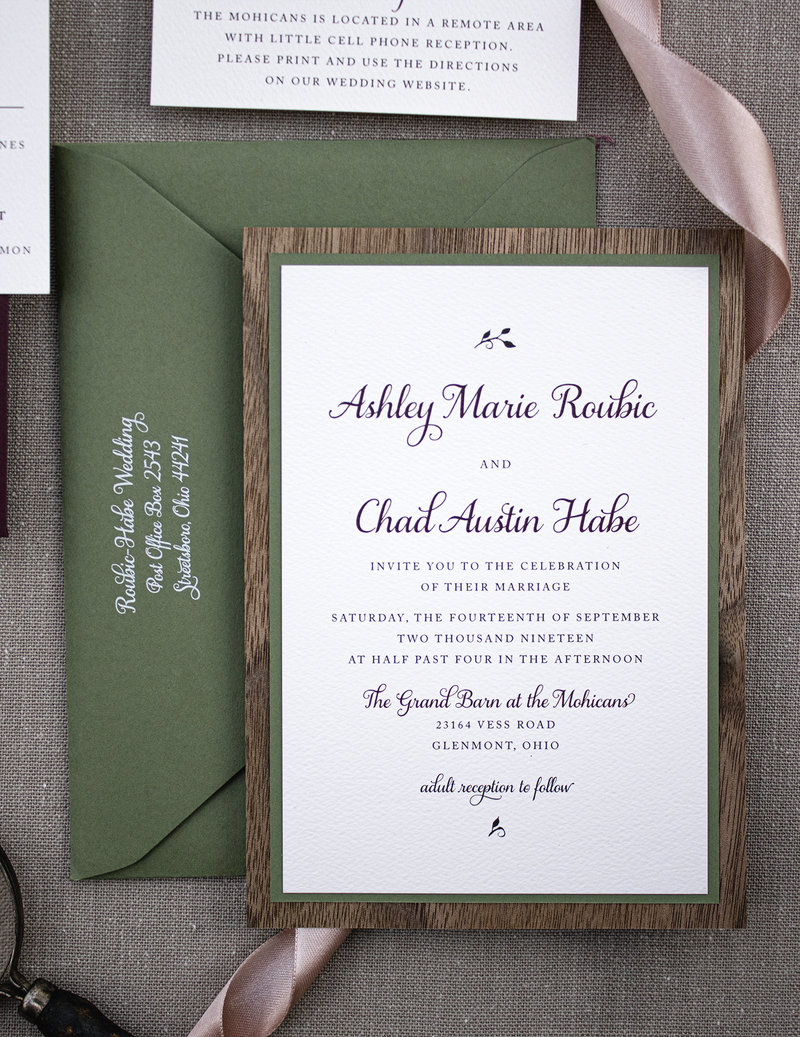 Wedding invitation backed with a lovely mid-tone Olive green and a dark, rich walnut wood.