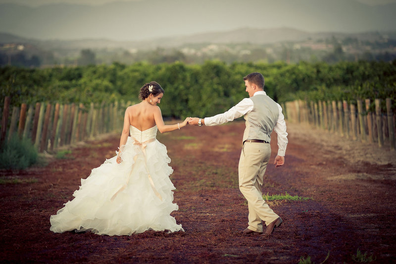 Temecula wedding photos bride and groom walking in a vineyard