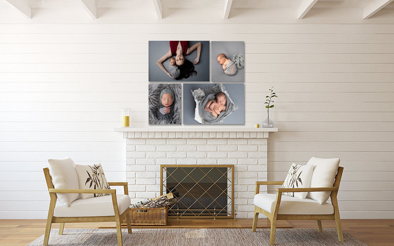 family photos displayed above fireplace in living room