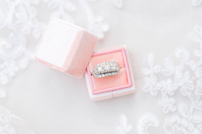 velvet pink box with vintage ring