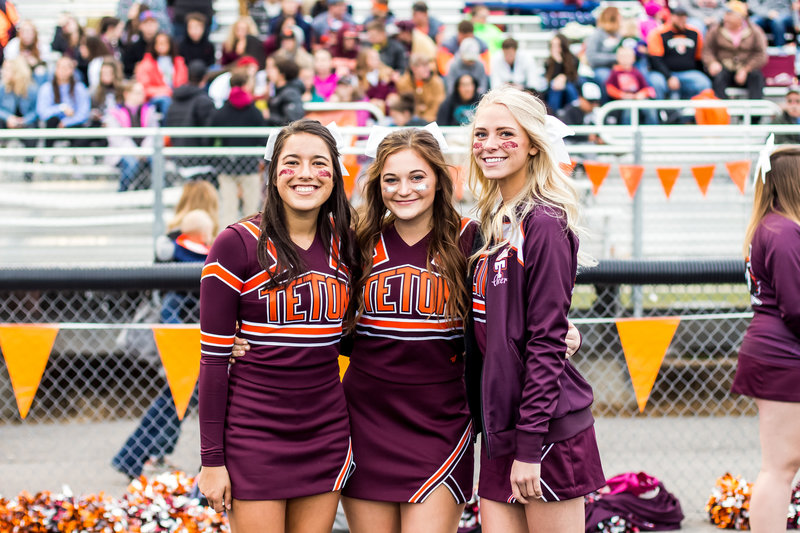 Jackson Hole Wyoming, Teton Valley, Driggs Idaho, sporting event photographer, football game details, high school football, homecoming, pretty cheerleaders, photographer
