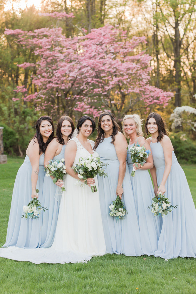 bridesmaids in light blue dresses  at Stone House at Stirling Ridge Maryland Wedding by  Costola Photography