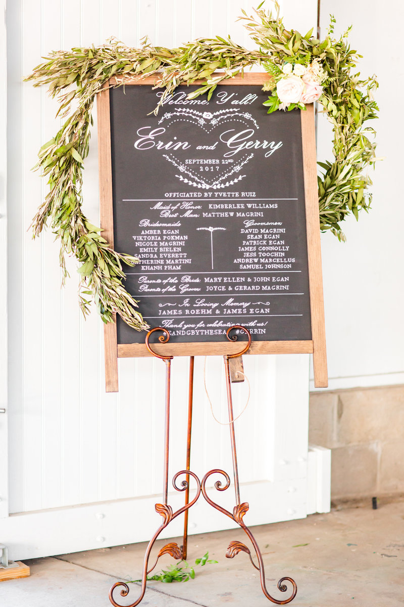 Rustic wedding ceremony sign