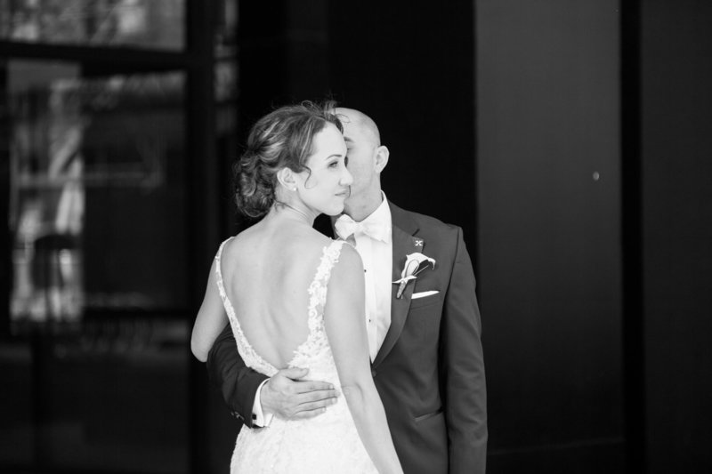 Bride and groom hugging at graydon hall