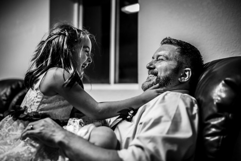 daughter and dad playing