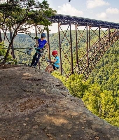 Rock climbing in the New River Gorge National Park.