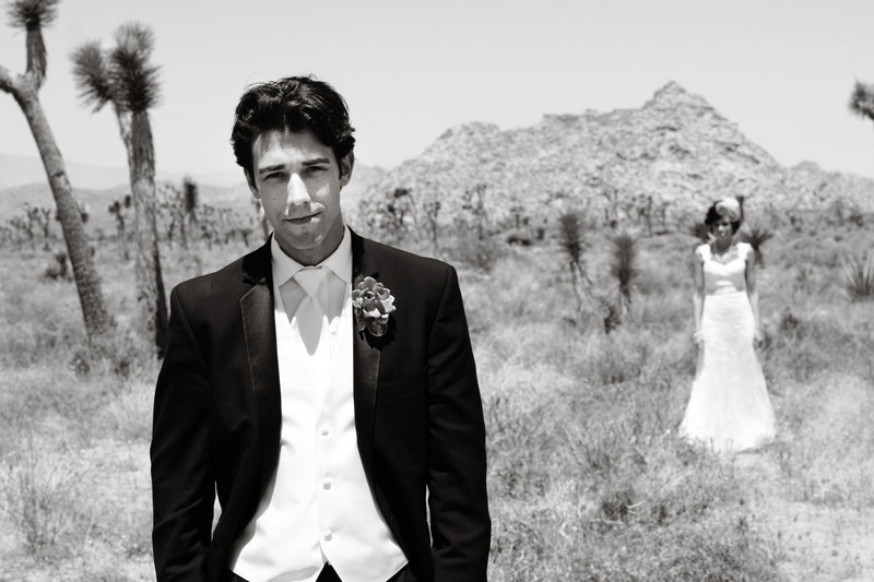 bride and groom Joshua Tree