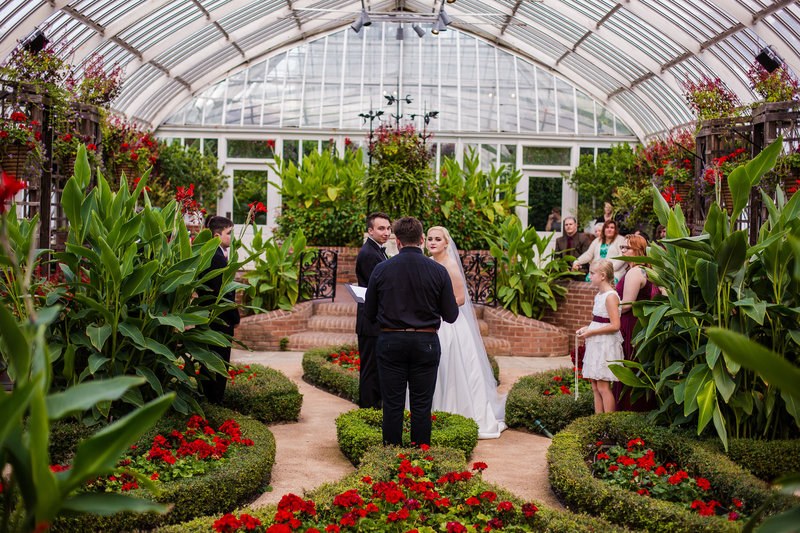 view of Phipps Conservatory wedding in the Broderie Room