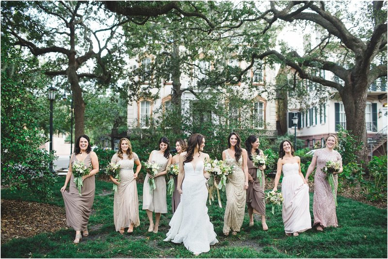 Fall wedding in savannah mismatched bridesmaids