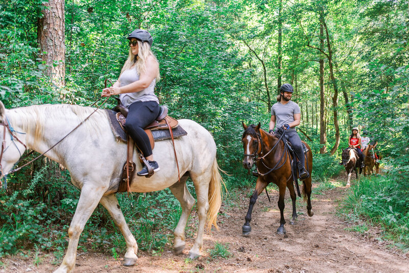 Horseback riding in North Georgia through trails and wooded ranges