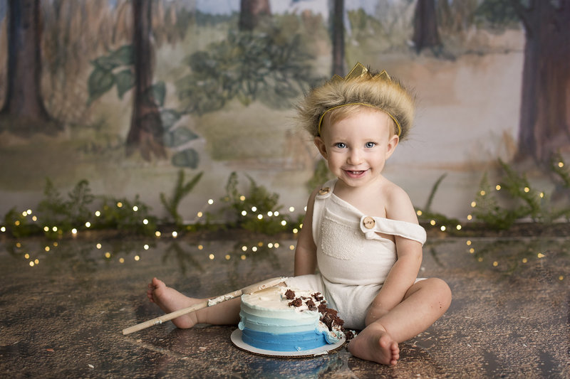 columbus ohio cake smash photographer wild one first birthday session baby boy