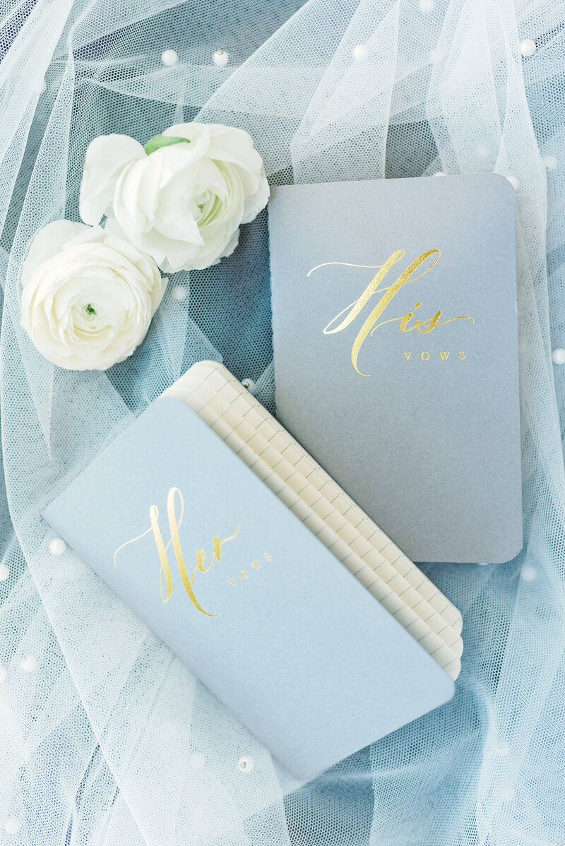 custom made blue vow books for wedding day details