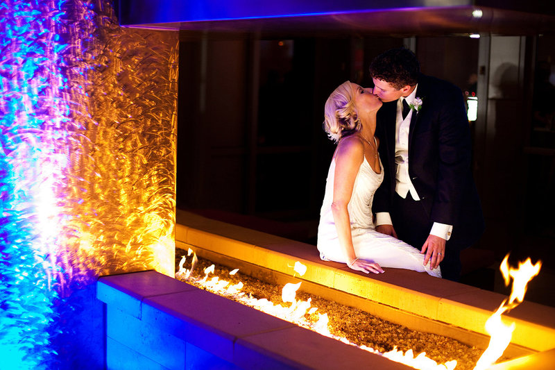 The Ultimate Skybox wedding photos night shot with the fire