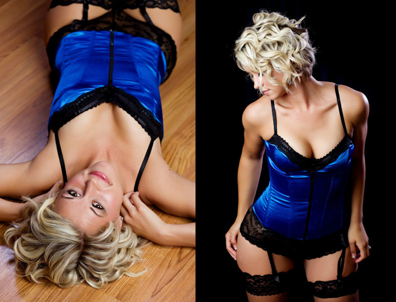 Blonde curly haired woman posing in blue lingerie at Boudoir & Pinup By Janet Lynn's Boudoir and Pinup Studio
