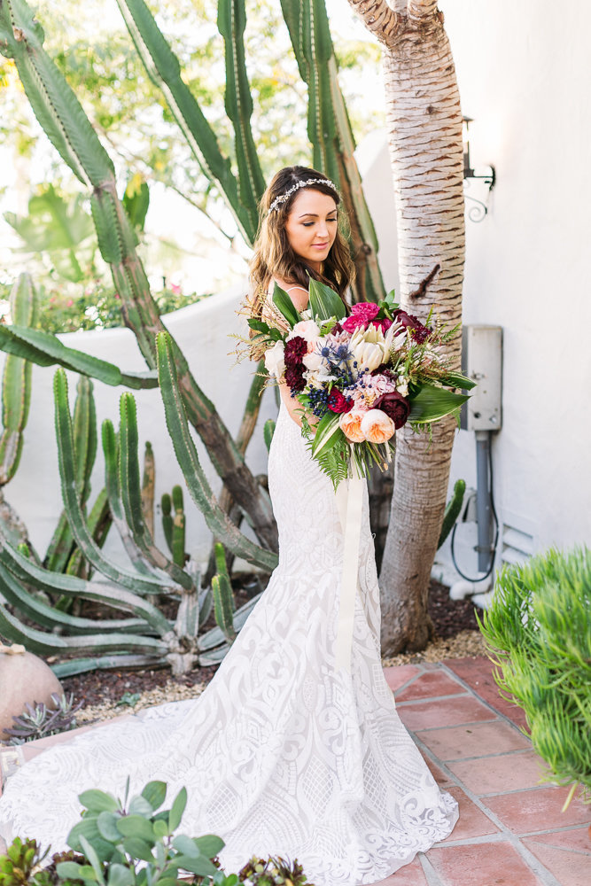 bride and floral bouquet in garden at casa romantica wedding in san clemente