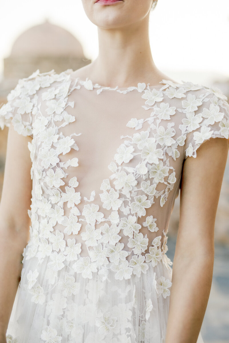 Beautiful bodice detailing on wedding gown