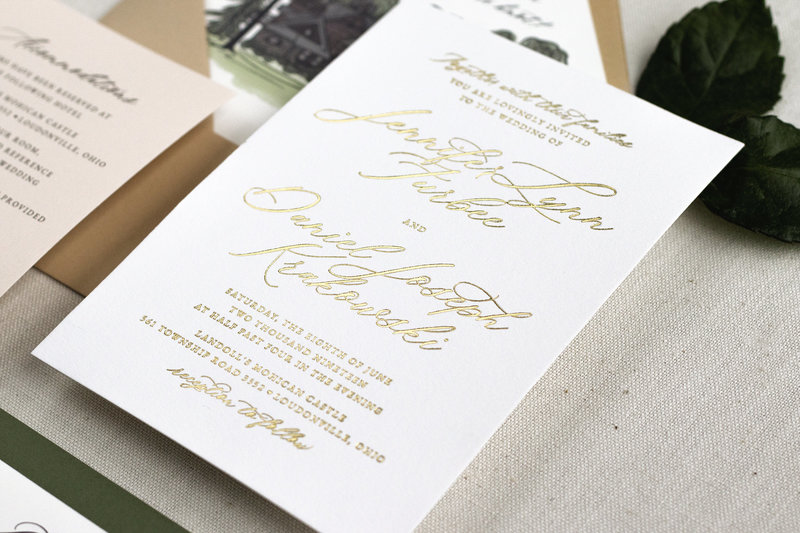 Invitation shown here in beautiful gold foil.