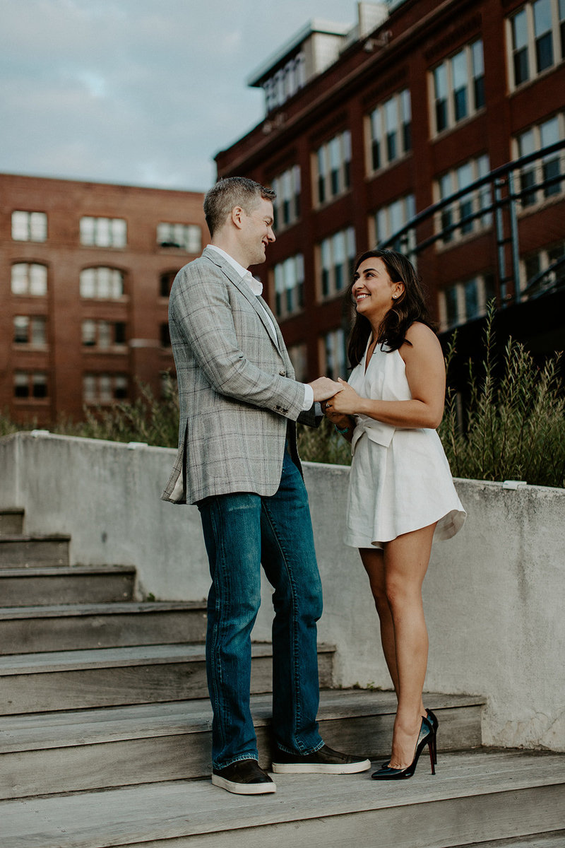 milwaukee riverfront engagement photos