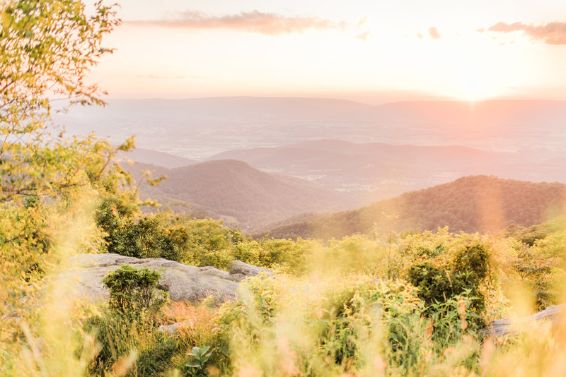 The Blue Ridge Mountains of Virginia at sunset.
