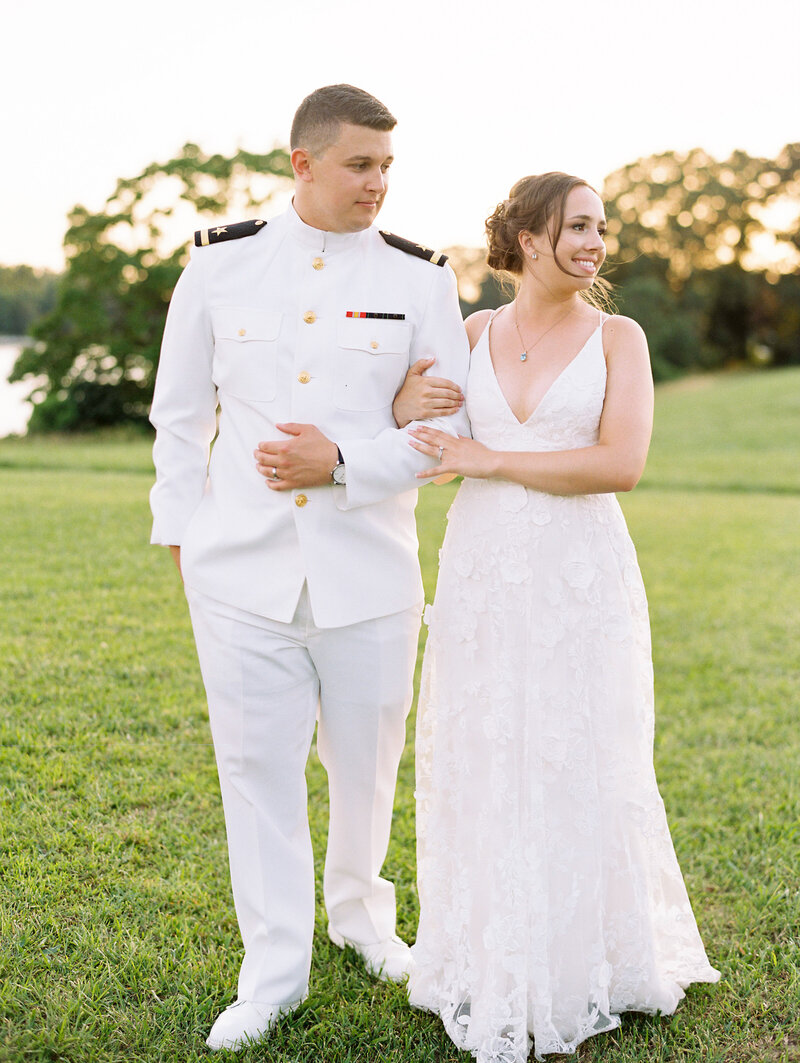 Bride and Groom during golden hour in Annapolis