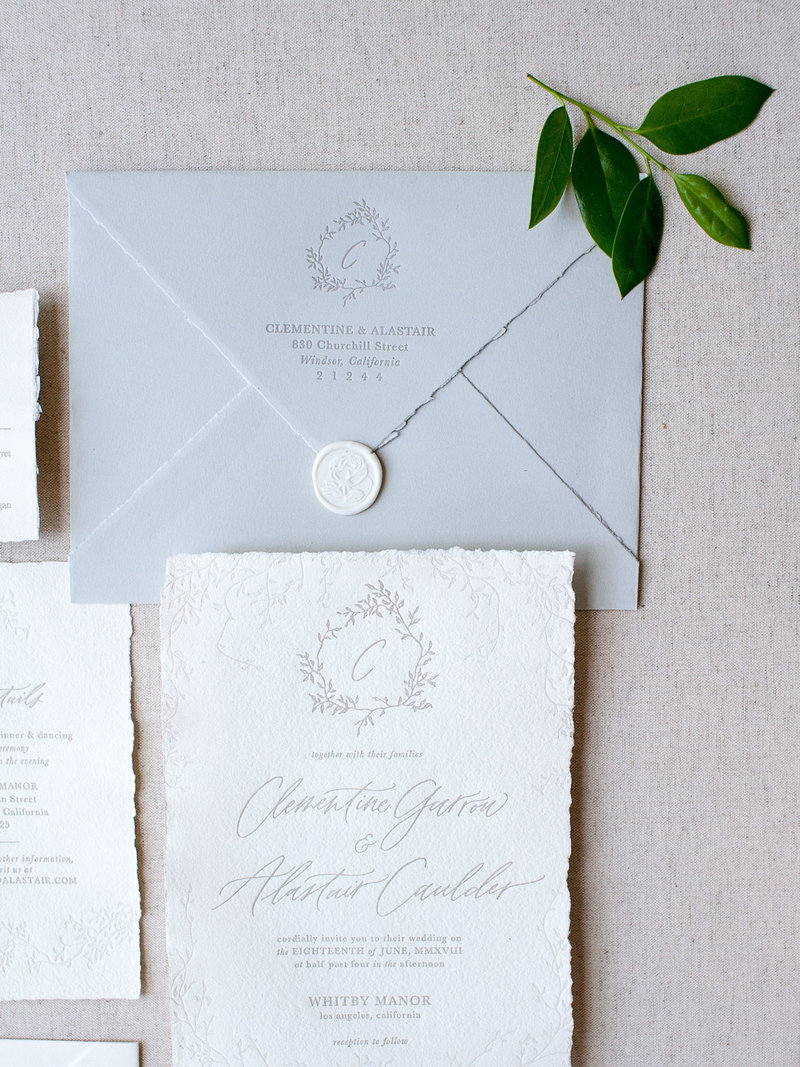 Semi-Custom Invitation Collection - Cascading Beauty 4-Piece Suite Closeup