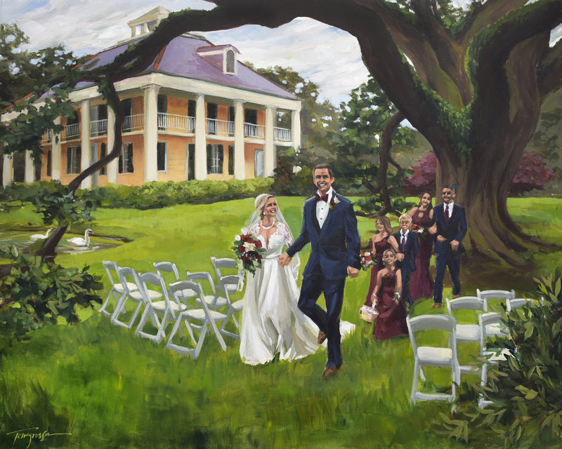 Torregrossa Fine Art original live wedding painting by Stephanie Torregrossa Gaffney 2018 New Orleans  Houma's House wedding