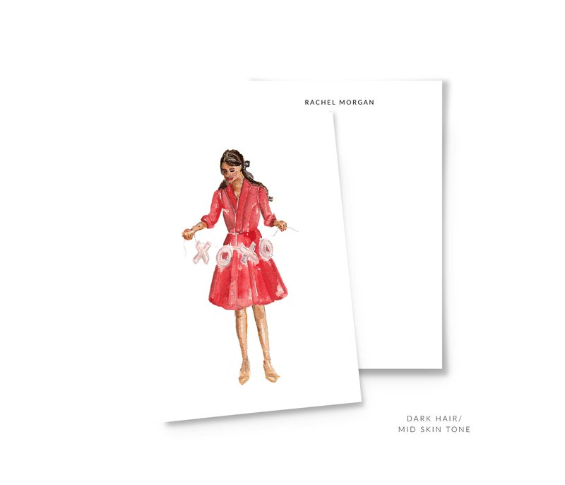 valentines personalized stationery dark hair mid skin mockup