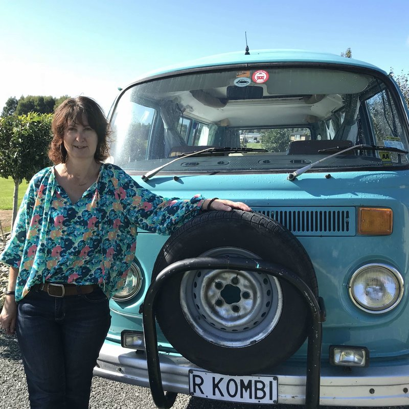 Lynda standing in front of kombi van Rhonda, Invercargill, New Zealand