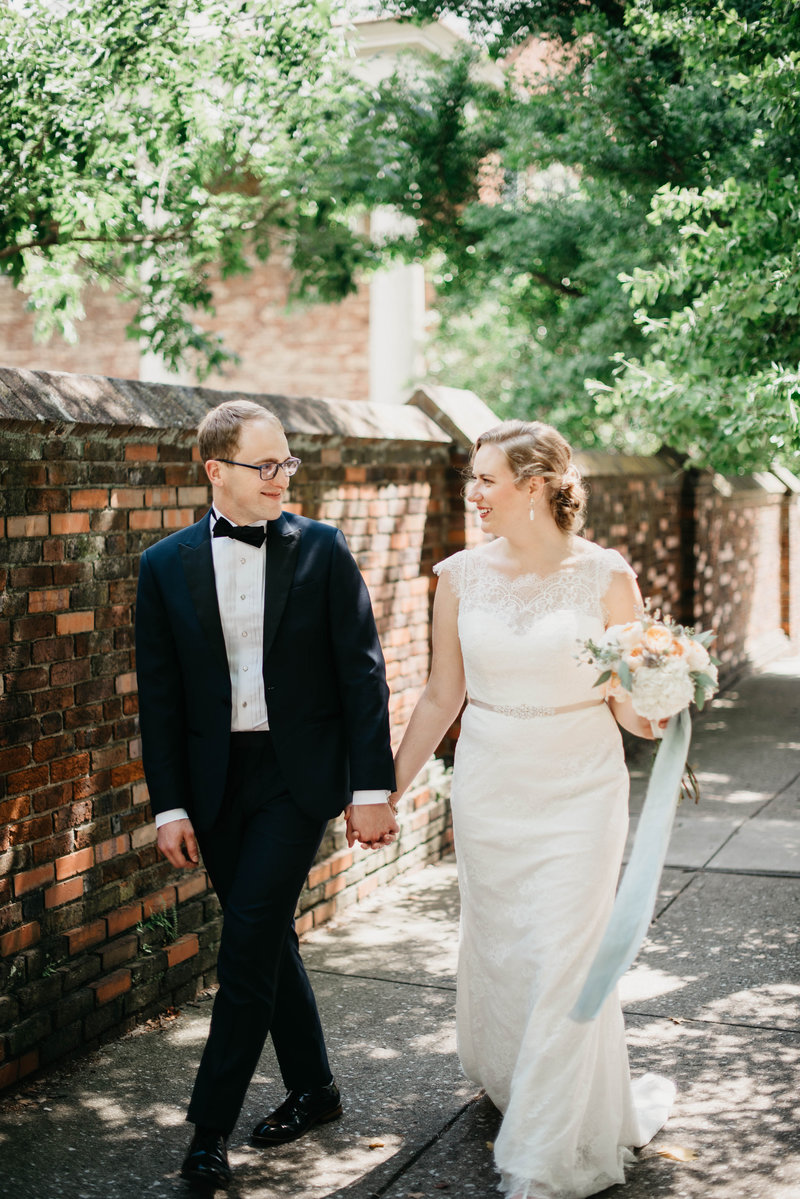 Bride and Groom walking hand in hand in Gratz Park, Lexington Kentucky Wedding Photographer, Katelyn V. Photography
