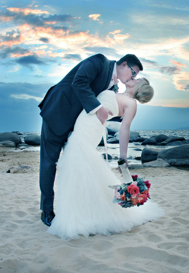 Lake Tahoe wedding, bride and groom