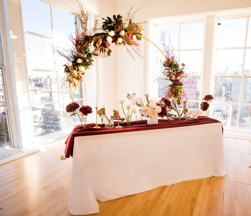 Loved this gorgeous fall meets winter sweetheart table for our amazing couple for this styled shoot