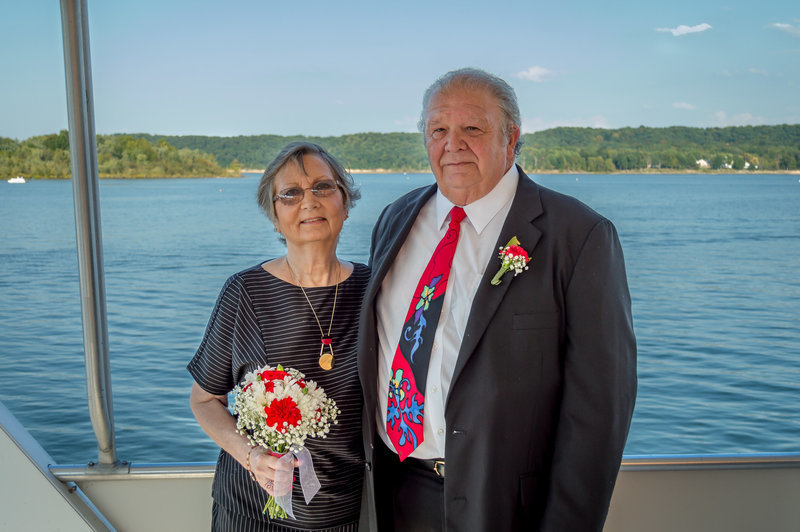 Wedding Photograph of elderly couple on a boat