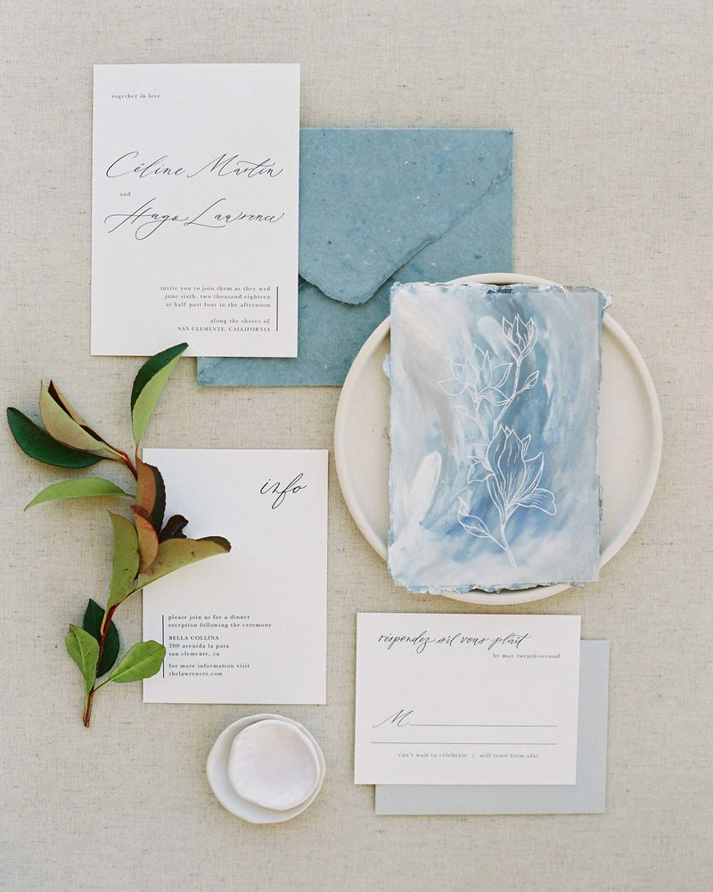 Dominique Alba  beach wedding artsy invitation suite dusty blues