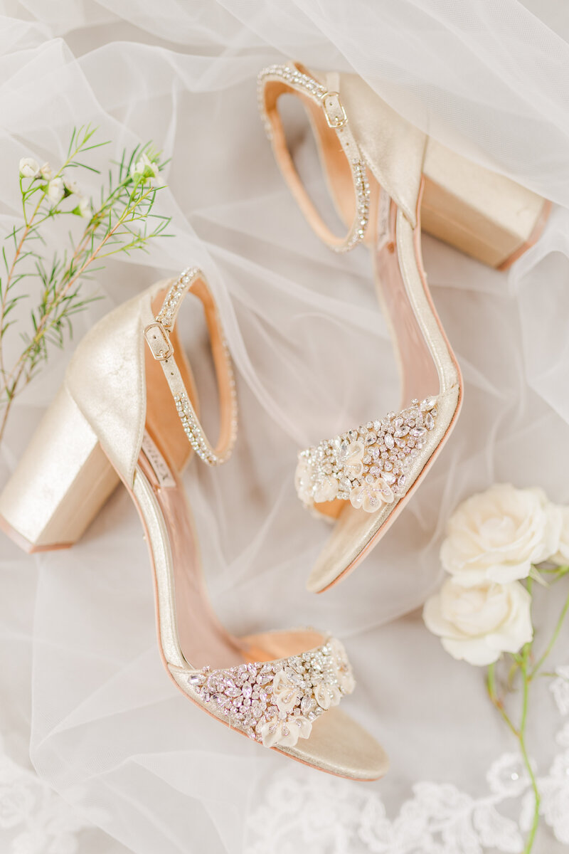 Detail photo of a bride's rose gold high heels for her Atlanta wedding by Jennifer Marie Studios