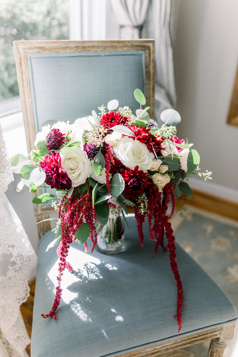 Washington DC Wedding Photography, bouquet sitting in a chair