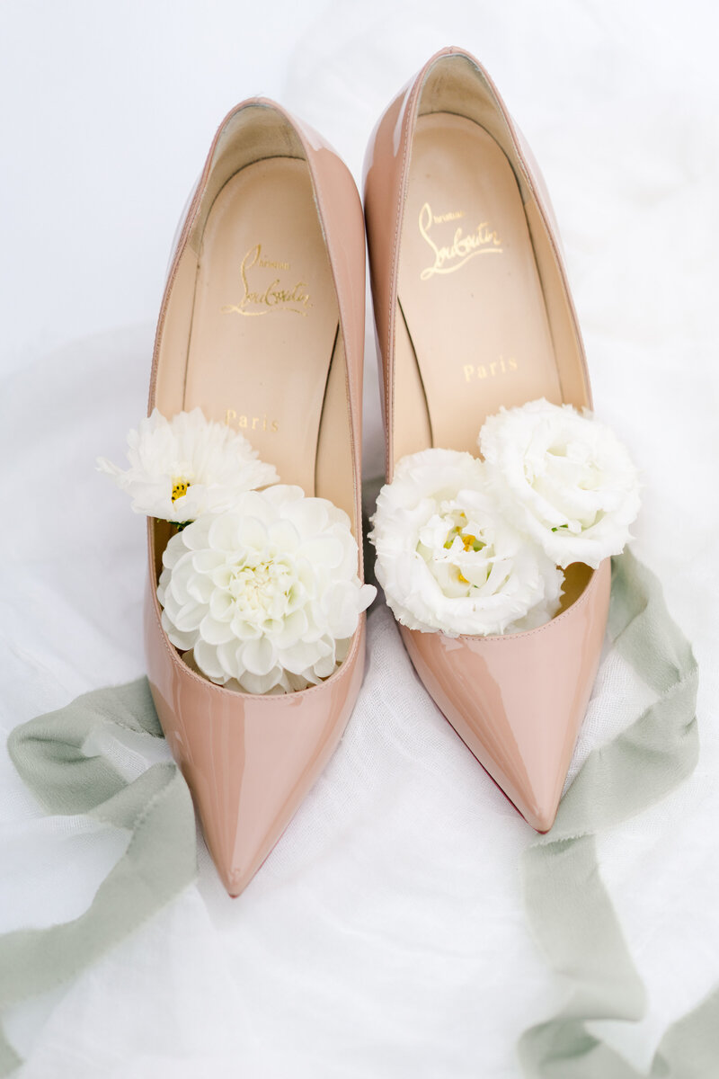 louis vuitton nude shoes with flowers in them