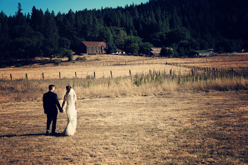 country wedding in a field