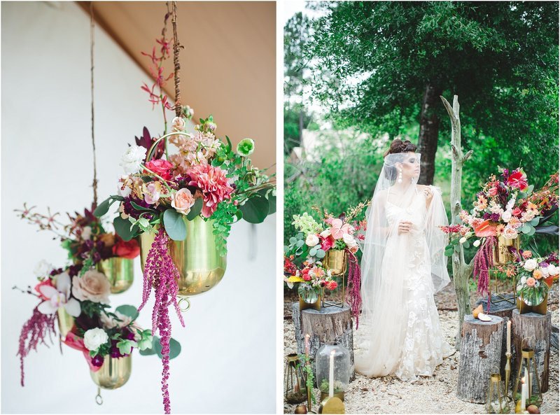 tropical bohemian wedding hanging centerpiece