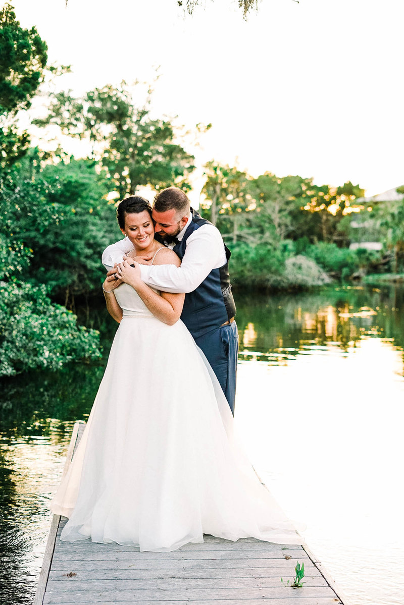 Dockside Wedding Portrait at La Casa on mason creek
