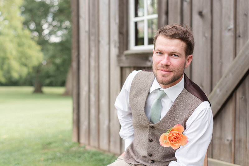 first look reactions blush dusty blue Heritage Alpaca Farm wedding indiana wedding venue indiana wedding photographer rose courts photography