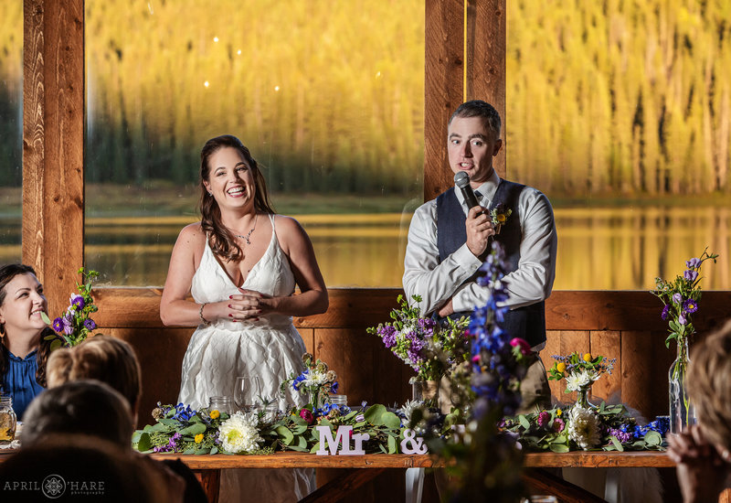 Wedding toasts at Piney River Ranch in Vail