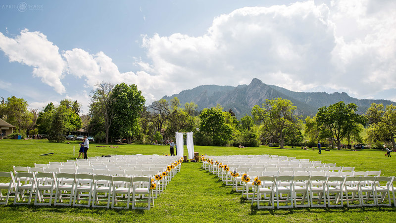 Wedding-Ceremony-Set-up-on-Lawn-at-Chautauqua-Park-in-Boulder